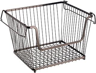 InterDesign York Lyra panier métal ouvert pour la cuisine, salle de bain ou bureau, grande corbeille en métal empilable, c...