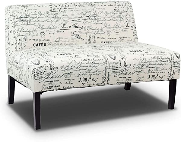 Global Supplies Living Room Wooden Leg Arm Less Love Seat Sofa White
