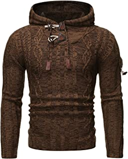 Men's Pullover Knitted Sweaters Drawstring Long Sleeve Slim fit Hoodie 2021 Autumn Winter Warm Comfortable Jumpers Casual ...