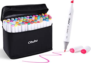 100 Colors Art Markers Set, Ohuhu Dual Tips Coloring Marker Pens for Kids, Fine and Chisel Tip Alcohol-based Drawing Markers for Sketching Adult Coloring Book, Great Christmas Gift Idea