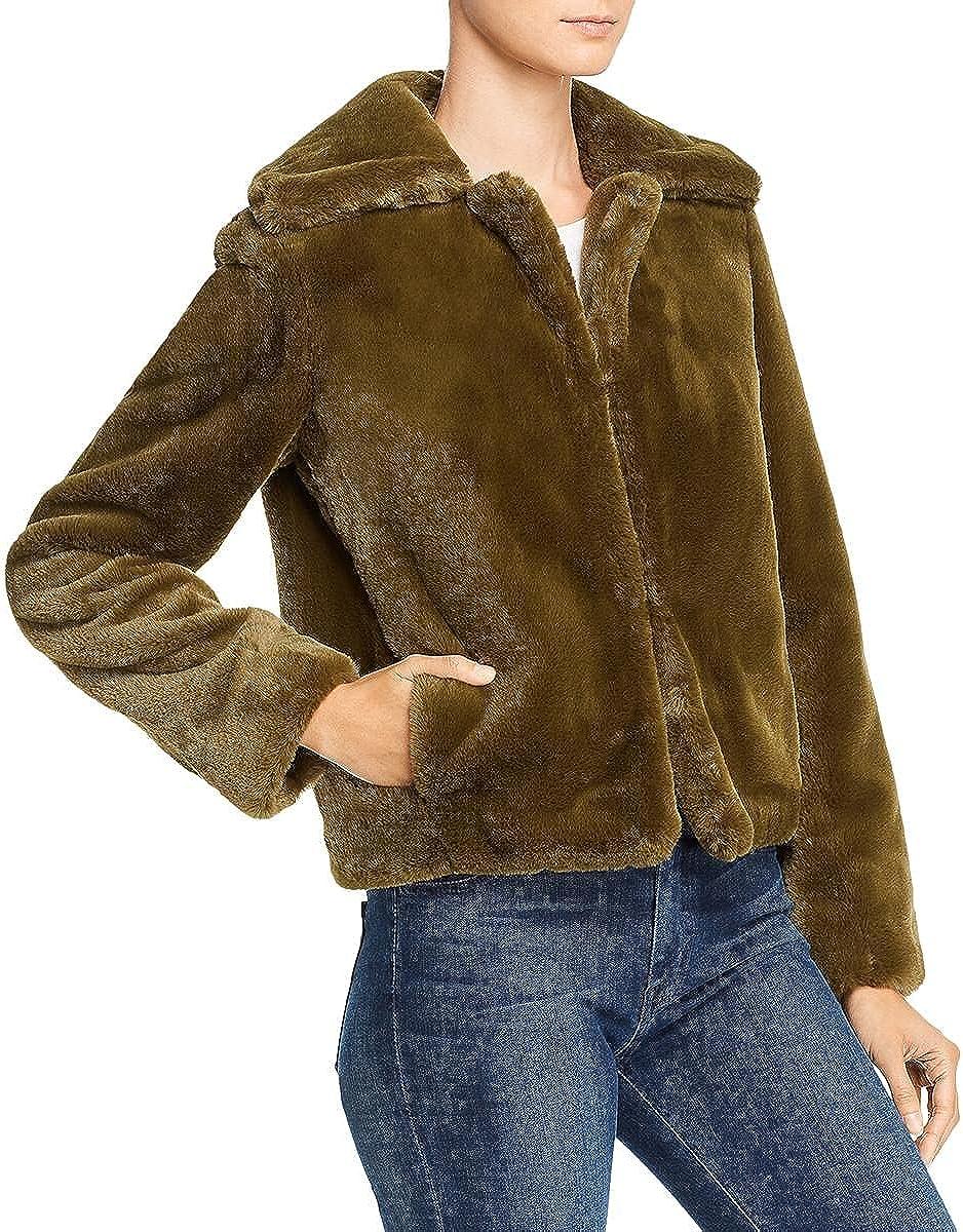 Theory Womens Lightweight Warm Faux Fur Jacket