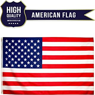 Eugenys American Flag 3 x 5 ft - Free US Flag Velcro Patch Included - Bright Vivid Colors, Durable Brass Grommets and Double Stitched - UV Fade Resistant Large USA Banner for Hanging Indoor/Outdoor