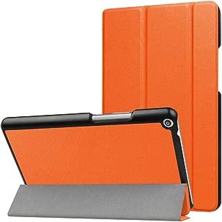 SHIHUI Phone Cases For Huawei MediaPad T3 8.0 Custer Texture Horizontal Flip Leather Case with 3-folding Holder(Black)(Dark Blue)(Orange)(Pink)(Green) etc (Color : Orange)