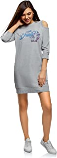oodji Ultra Women's Straight Cold Shoulder Sweatshirt Dress