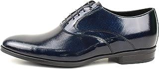 Zapatos de ceremonia para hombre clásicos artesanales Oxford de piel cáñamo azul