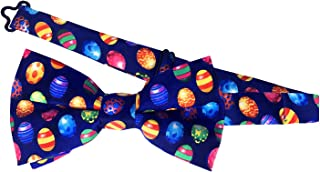 Jacob Alexander Men's Colored Easter Eggs Blue Adjustable Pre-Tied Banded Bow Tie