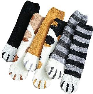 REYOK Calcetines de Invierno para Mujer-Gato Calcetines de Pantuflas-Calcetines de Felpa de Coral de Felpa,Suaves y Esponj...
