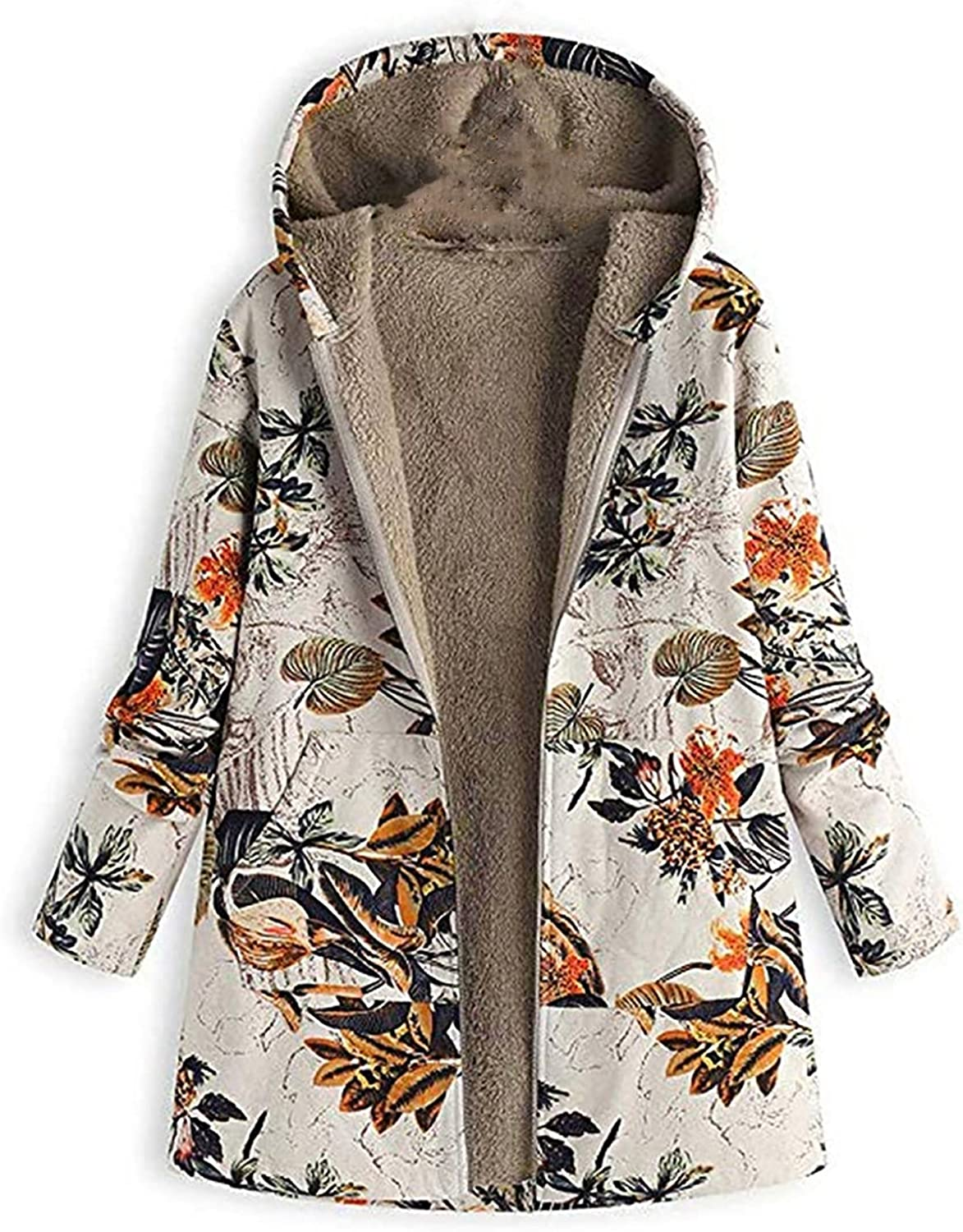 Womens Winter Warm Hooded Coats Floral Print Zip Up Sweater Jacket Long Sleeve Vintage Oversize Coats with Pockets