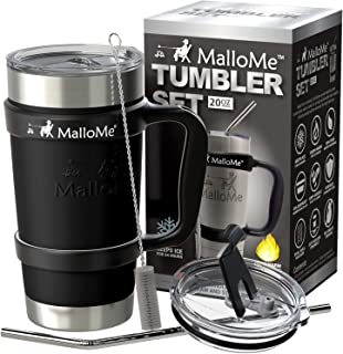 MalloMe Stainless Steel Vacuum Insulated 6-Piece Tumbler Set, Black 20 oz