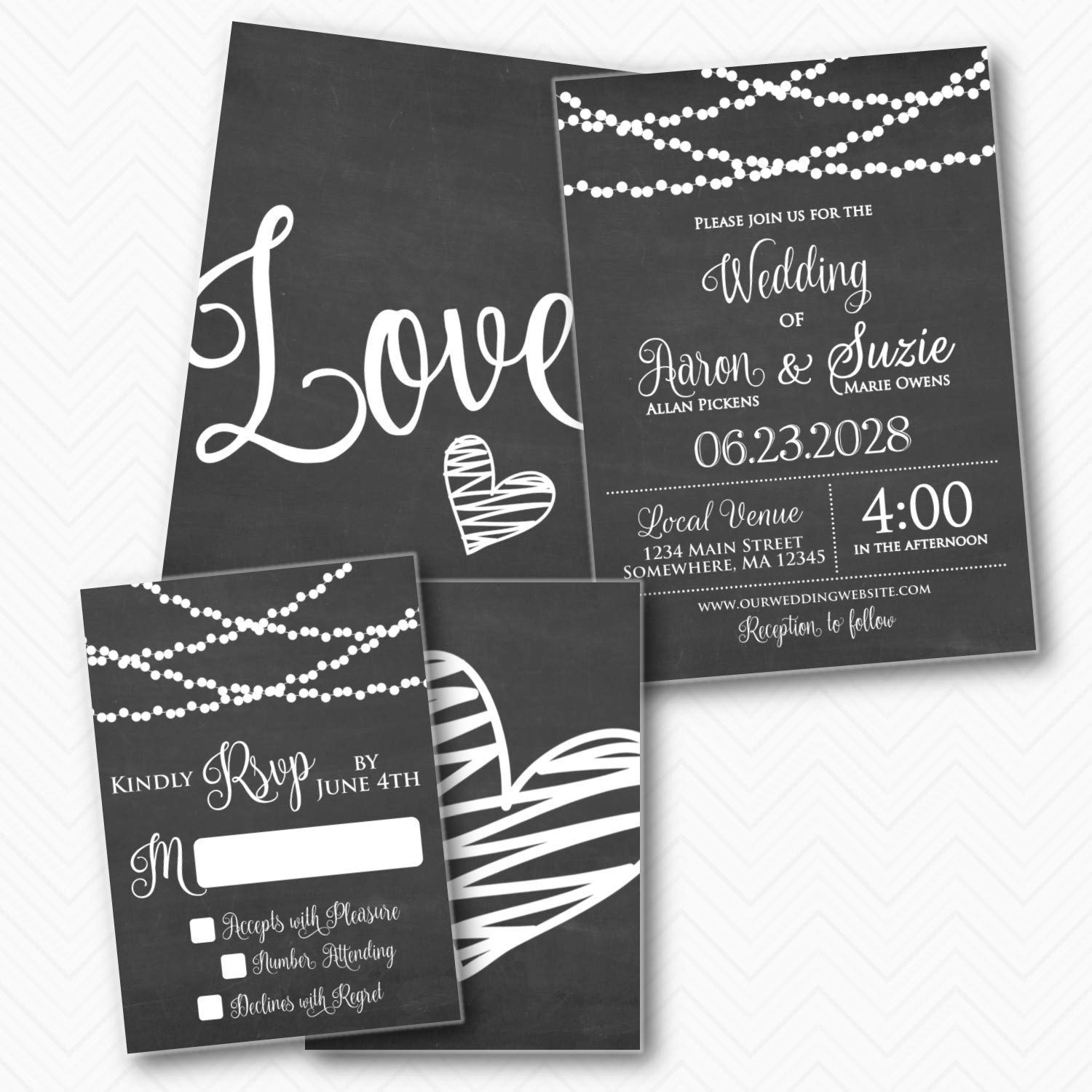 Chalkboard Lights Mail order cheap Popular shop is the lowest price challenge Wedding Invitation set RSVP with Black White w