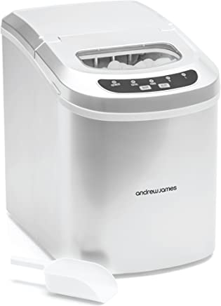 Andrew James Ice Maker Counter Top Ice Machine | Produces Ice Cubes in Under 10 Mins | No Plumbing Required | 2.4L Tank | Compact and Portable | Includes Scoop and Removable Basket