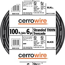 product image for Cerrowire 112-4201C 100-Feet 6-Gauge Stranded THHN Black Wire