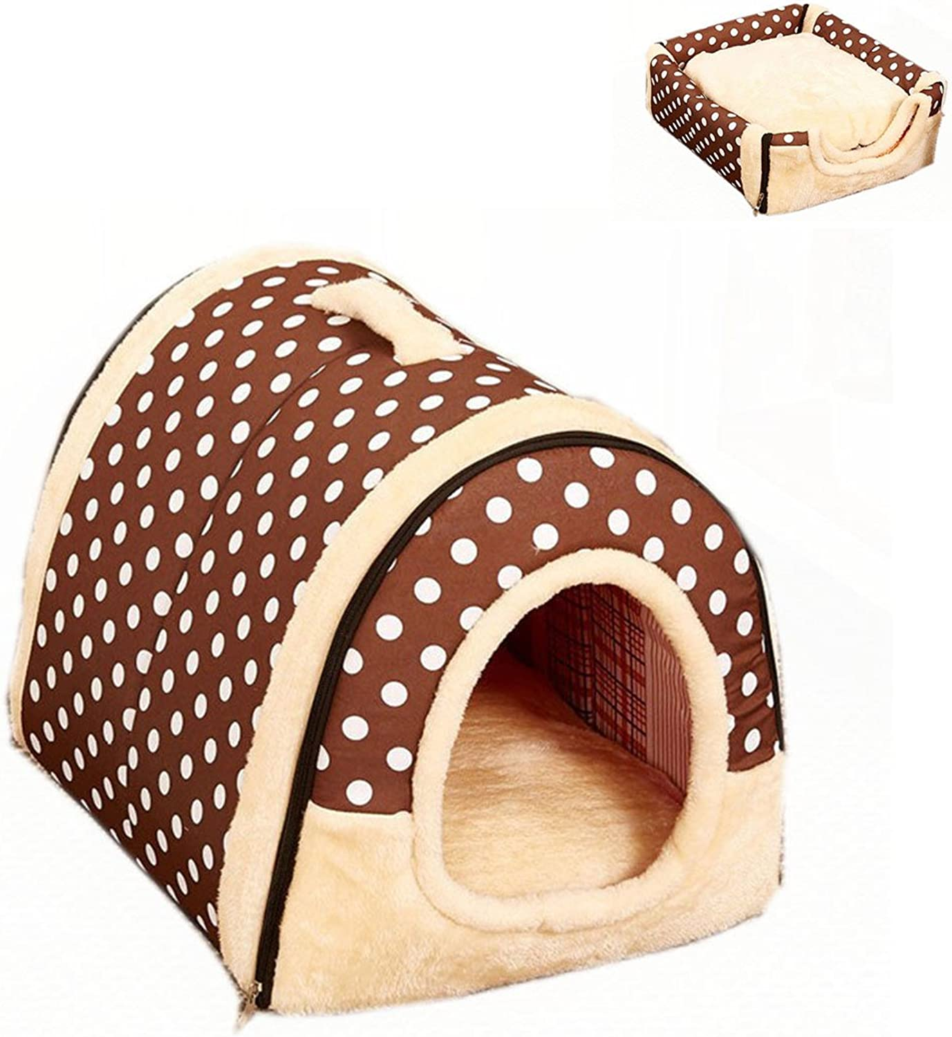 FamyFirst Multifuctional Dog House Nest with Mat Foldable Portable Pet Cat Bed SlipResistant Pet Dog Cat Cave Congreenible Pet Travel Bag Product Brown Point L