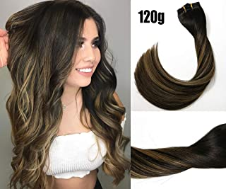 Clip in Hair Extensions 120G 100% Brazilian Remy Human Hair Extensions 9A Thickened Soft Silky Straight for Fashion Women 7pcs 17clips Full Head (14Inch Balayage Natural Black to Honey Blonde)