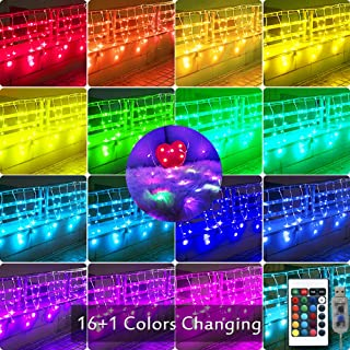 90 LED Color-Changing Icicle Lights Window Curtain Lights, USB Remote Control Backdrop Fairy Lights Starry Outdoor String Lights for Christmas, Wedding, Party Decorations-10ft x 2ft(Multiple Color)