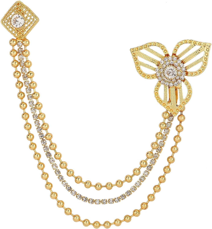 Efulgenz Brooch Pin with Chain Tassels Lapel Pin Suit Stud Collar Pin Breastpin Crystal Rhinestone Wedding Accessory Jewelry