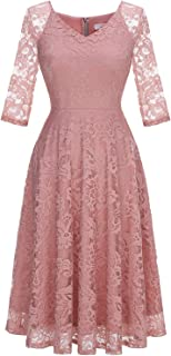Long-Sleeve A-Line Lace Bridesmaid Dress Midi for Wedding Formal Party