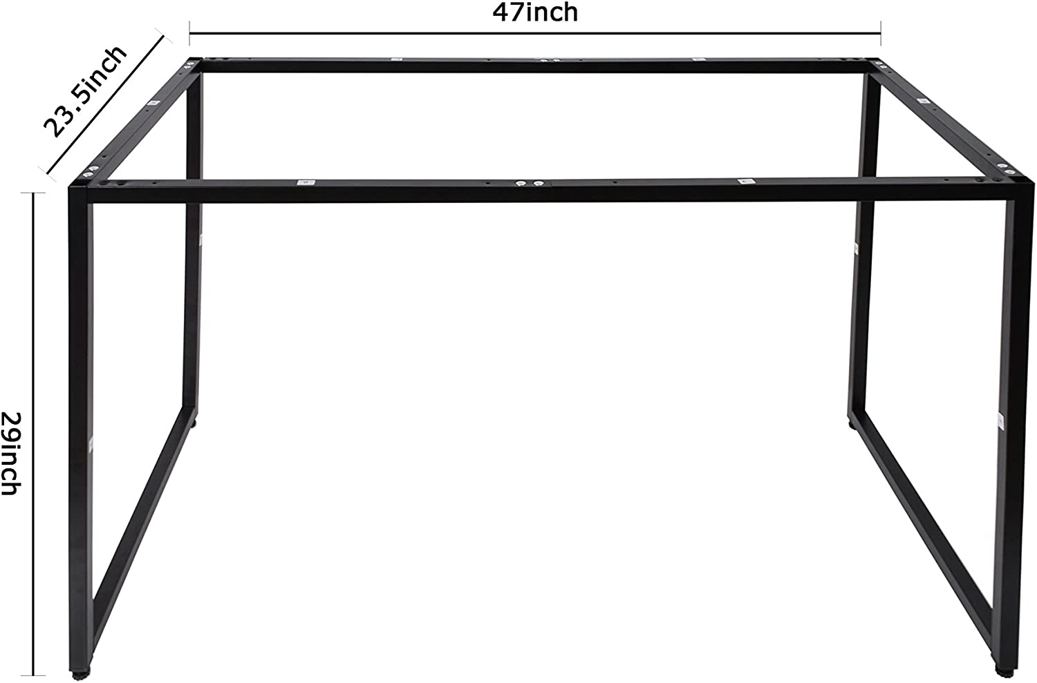 U-LALA Modern Design Easy Assembly Black Desk Frame for Home and Office (Small)