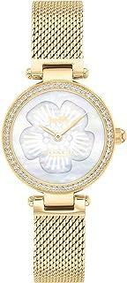 ساعة نسائية بمينا بيضاء مزينة بعرق اللؤلؤ وسوار رفيع من الستانلس ستيل 1 مطلي بالذهب ايونياً من كوتش - 14503512