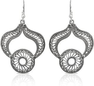 Izaara 92.5 silver sterling Hallmark Silver Ethnic Dangle Earrings For Festival