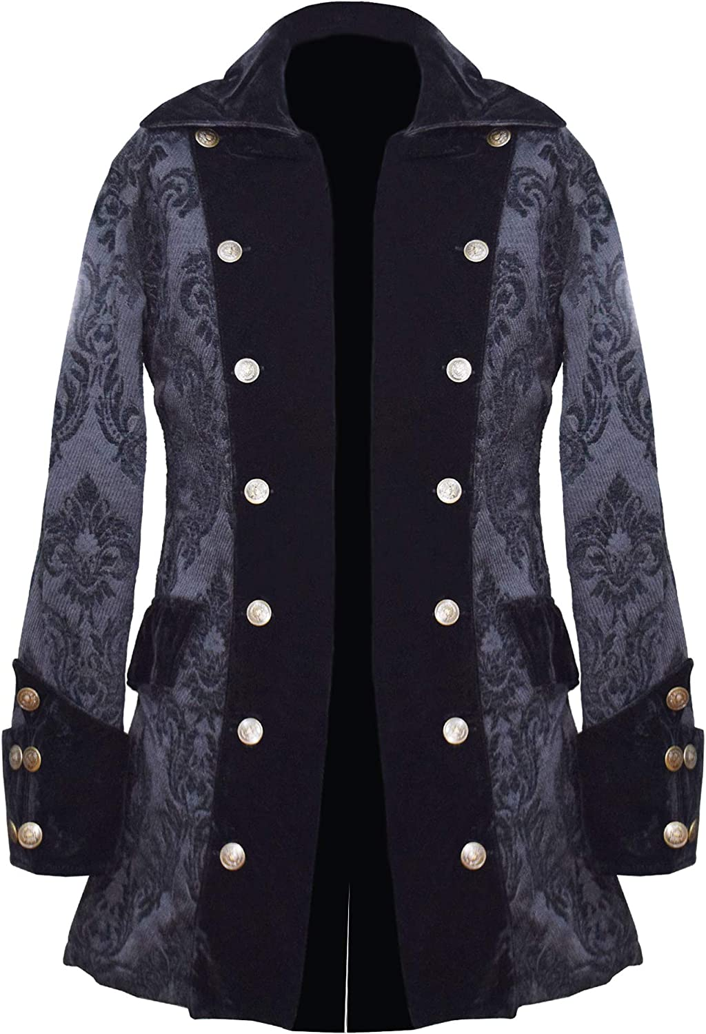 AAYLANS BLACK BROCADE LONG PIRATE COAT MADE OF 100% COTTON WITH FLEECE LINING