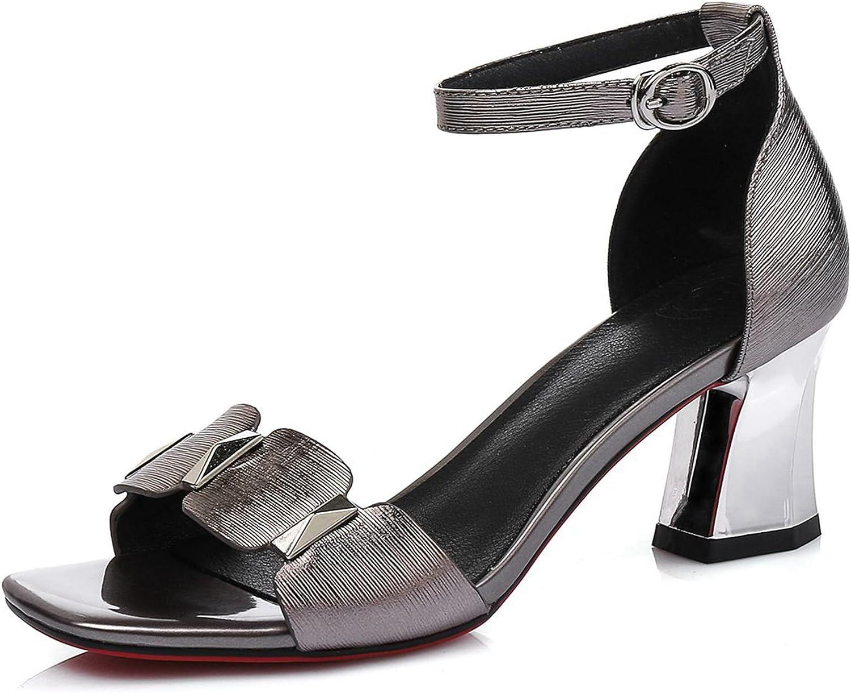 VIMISAOI Women's Genuine Leather Metallic Decoration Open Square Toe Scalloped Ankle Strap Block Sandals