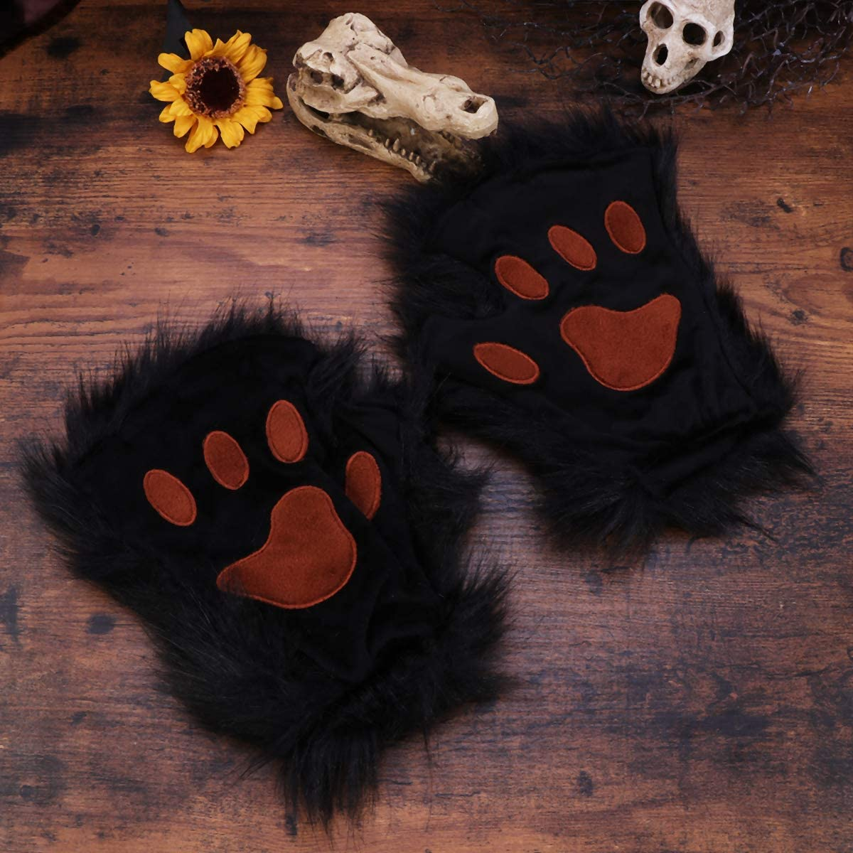 Amosfun A Pair of Black Halloween Faux Fur Long- haired Animal Gloves Animal Paws Mittens Winter Warm Half- finger Gloves