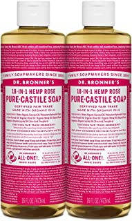 Dr. Bronner's - Pure-Castile Liquid Soap (Rose, 16 ounce, 2-Pack) - Made with Organic Oils, 18-in-1 Uses: Face, Body, Hair...