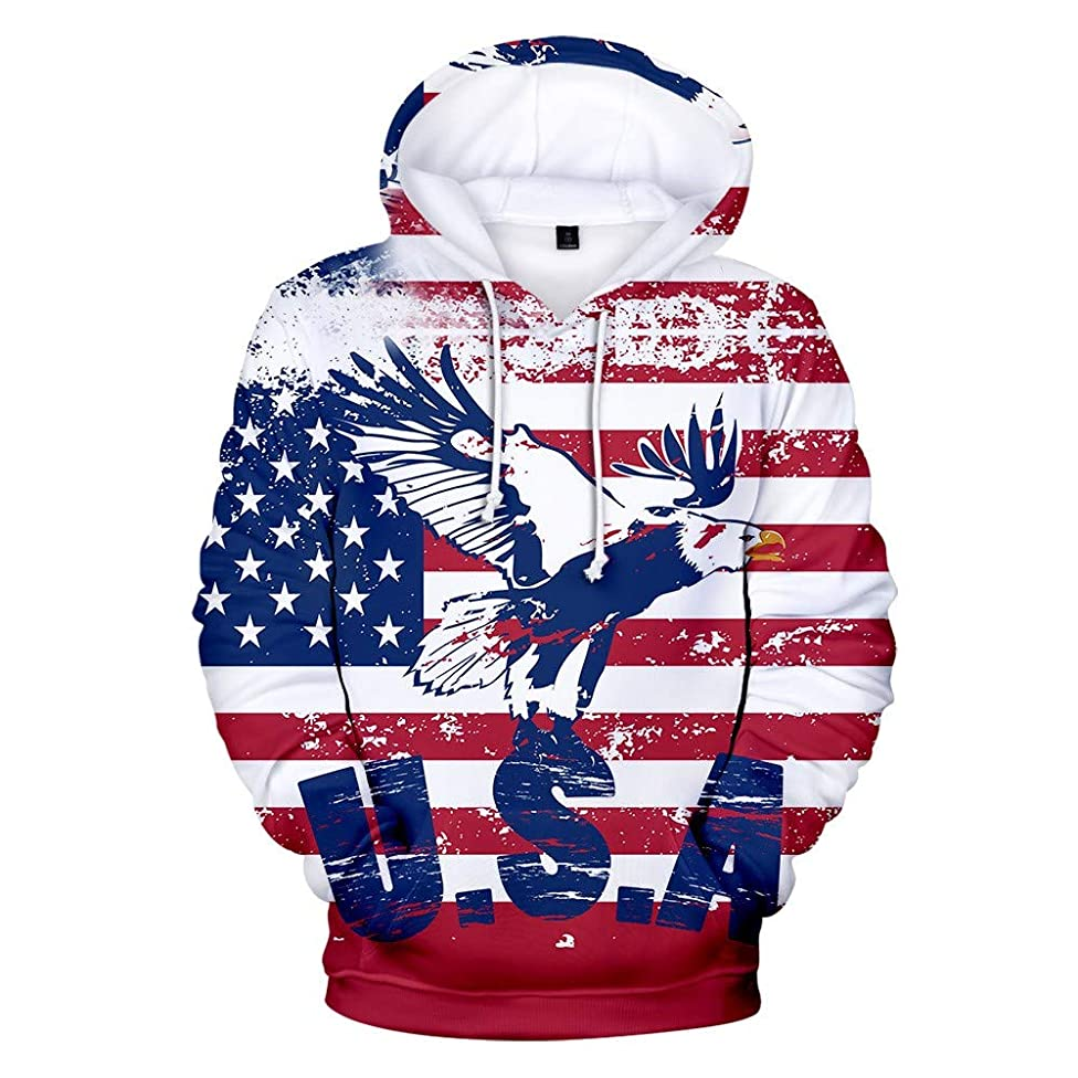 Clothful ?? Independence Day Clothing, Men's 3D Flag Printed Long Sleeve Couples Hoodies Sweatershirt Top Blouse