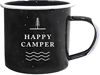 Journo Happy Camper Enamel Camping Mug - Black, 12 Oz (350 ml), Ecofriendly Outdoor Camper Mugs Ideal for Early Morning Coffee Or Cold Campfire Beer. (2 Custom Designs to Pick from Travel Co.) …