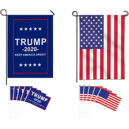 Taygate American Double Sided Nylon Garden Flag Donald Trump For President 2020 Keep America Great Garden Flag Election Day Party Event Decorations With 10 Pack Small Hand Held Stick Flags