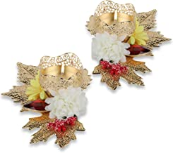"HATHKAAM 2 PC Set 6"" Red Stone Leaf Floral Metal Diwali Diya Deepavali Home Door Décor Traditional Candle Tea Light Holder..."