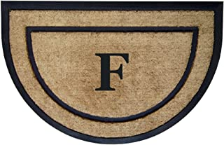 Nedia Home Single Picture Black Frame with Half Round Coir Rubber Border Dirt Buster Mat, 24 by 36-Inch, Monogrammed F