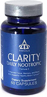 Clarity Daily Nootropic (New Label) - Enhance Brain Function, Memory, Focus & Mood - Premium Natural Nootropic Supplement: Synapsa Bacopa Monnieri, Rhodiola Rosea, Vitamin B Complex, Zinc Picolinate