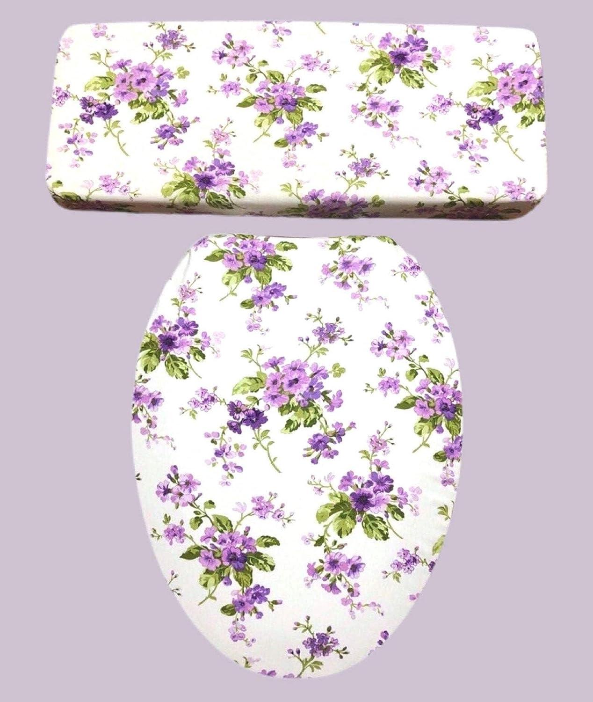 HANDCRAFTED Purple Lavender Floral Popular standard Toilet Seat Tank Cover Lid Super intense SALE