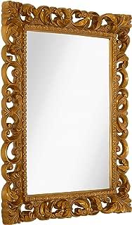 Hamilton Hills Antique Gold Ornate Baroque Frame Mirror | Elegant Old World Feel Beveled Plate Glass Mirrored Design | Hangs Horizontal or Vertical (28.5