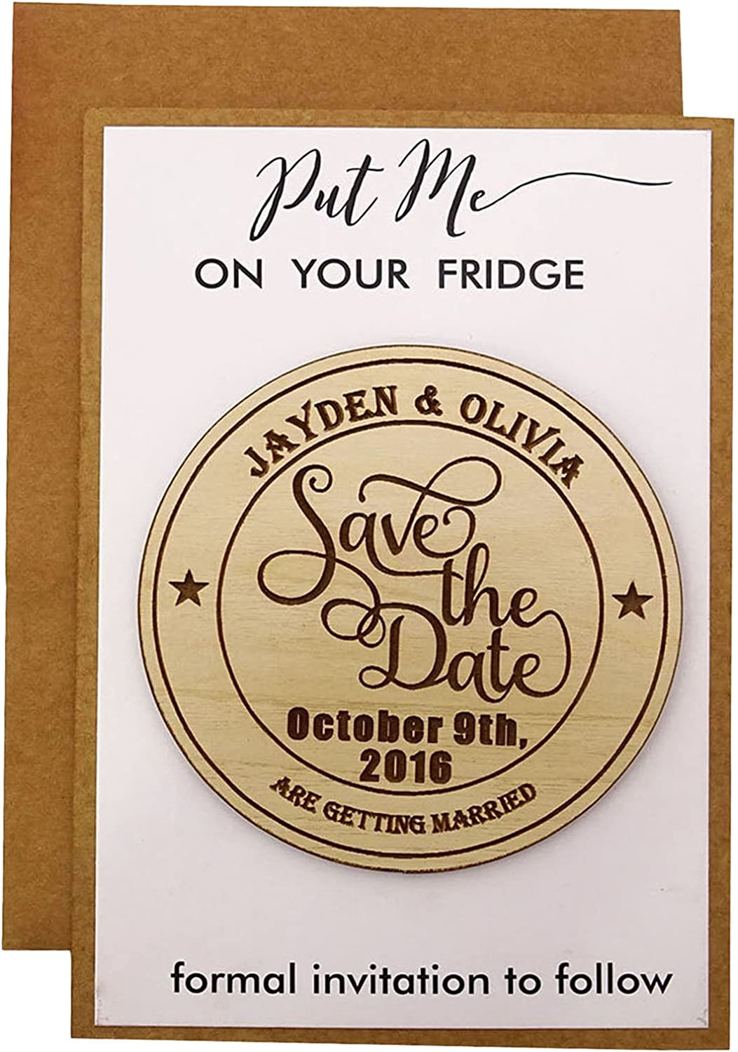 Fashion 50 Save the Date Wooden Engraved Award Magnet Custom Rus