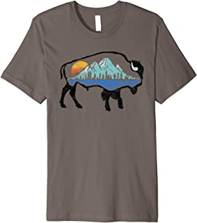 Vintage National Park Bison Landscape - Buffalo Art T-Shirt