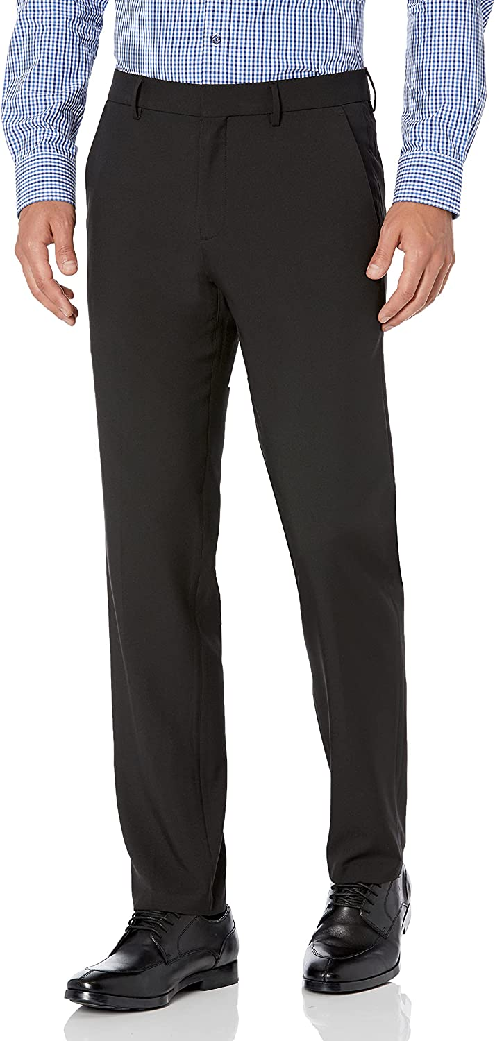 Haggar Men's Active Series Performance Straight Fit Flat Front Dress Pant