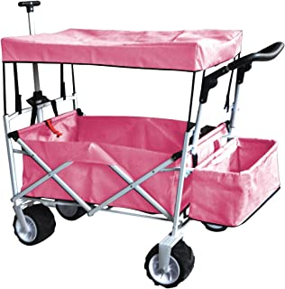PINK PUSH AND PULL HANDLE FOLDING STROLLER WAGON OUTDOOR BEACH SPORT COLLAPSIBLE BABY TROLLEY W/ CANOPY GRAY GARDEN UTILITY SHOPPING TRAVEL CART - FREE ICE COOLER BAG - EASY SETUP NO TOOL NECESSARY