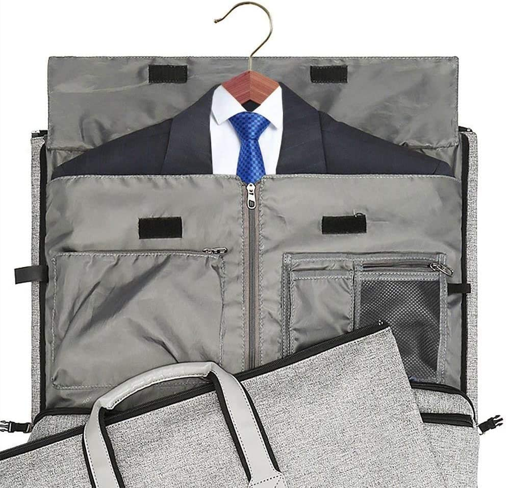 Dark Grey Garment Bag with Shoes Compartment ; Suit Travel Bags for Men and Women for Toiletries Carry on Garment Duffel Bag with Wet Pouch