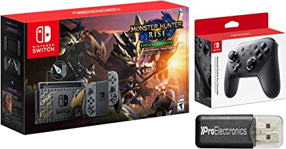 Nintendo Switch MONSTER HUNTER RISE Deluxe Edition System with Pro Controller Bundle