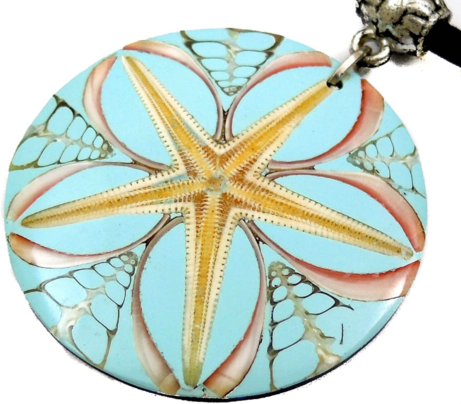 Turquoise Cone Shell, Starfish Pendant 16-26 inch Adjustable Cord Necklace Handmade Jewelry CA422