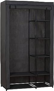 WOLTU SS5026gr Kleiderschrank Stoff, Garderobenschrank Faltschrank, Stoffkleiderschrank mit Kleiderstange, Grau, 100x46x174 cm