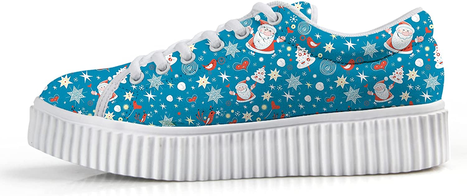 Owaheson Xmas Skating Magical Santa Claus for Wom Wedge Brand new Outlet sale feature Sneakers