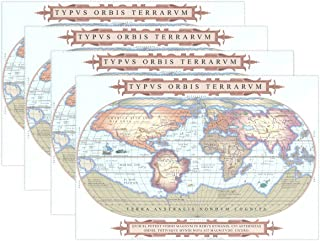 Educational Old Globe World Map with Water Monsters Heat-Resistant Table Placemats Set of 6 Anti-Skid Table Mats Washable ...