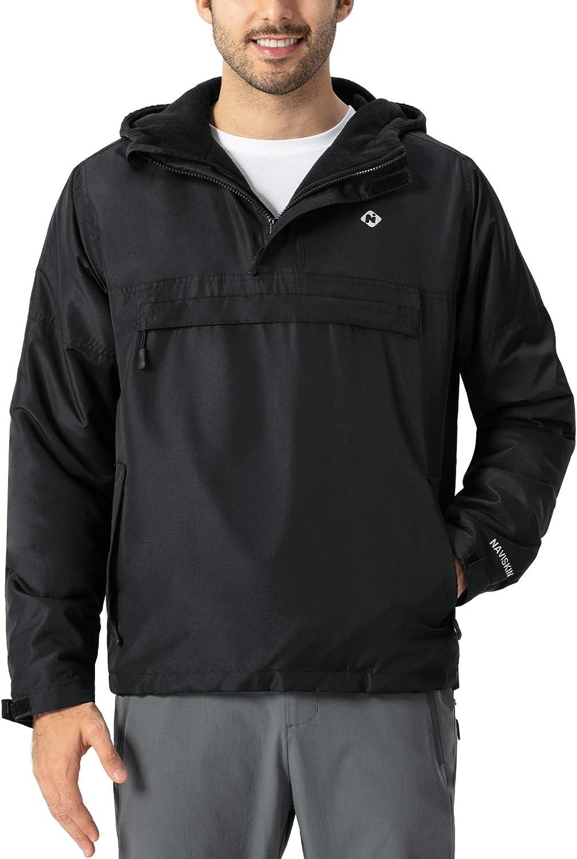 最安値 NAVISKIN Men's Fleece Hooded Windbreaker 定番スタイル Pullov Half Jackets Zip