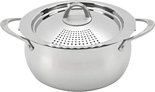 Bialetti 07593 Oval 6 Quart Multi-Pot with Strainer Lid, whole pasta, corn, lobster, Stainless Steel (Renewed)