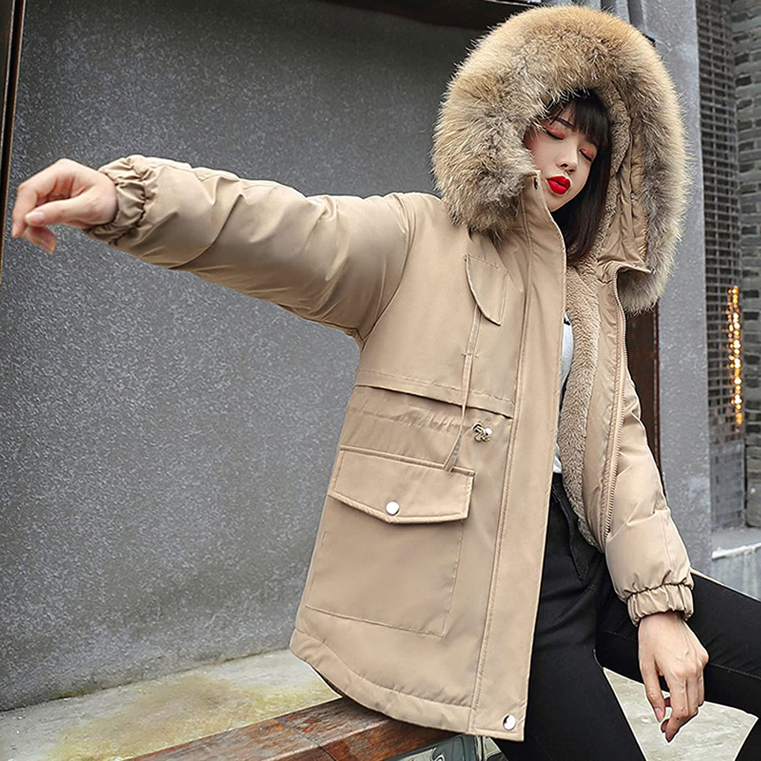 Women's Pure Color Down Coats Fur Hooded Zipper Warm Thicken Puffer Jacket With Pockets Belted Waist Overcoat