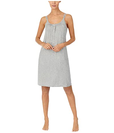 LAUREN Ralph Lauren Knit Double Strap Button Nightgown (Grey Dot) Women